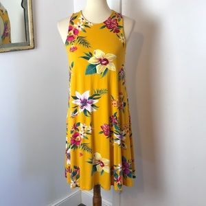 Old Navy Mustard Yellow Floral Knit Dress